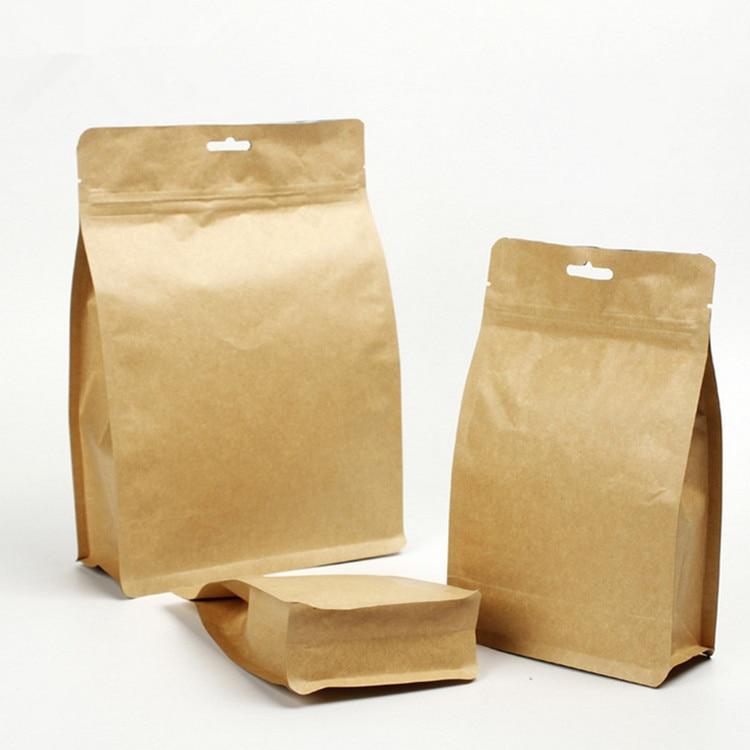 50pcs Food Storage Bags Shop Food Packaging Bag Reusable Snacks Seal Pouch Kraft