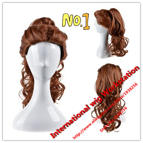 2016Cosplay wig Beauty And The Beast Cartoon Princess Belle wig Synthetic Long Curly Wig Auburn Brown Cosplay Anime Wig Ponytail