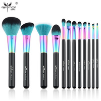 Anmor Hot Sale 12 PCS Makeup Brush Set Copper Ferrule Makeup Brushes Synthetic Hair Professional Make