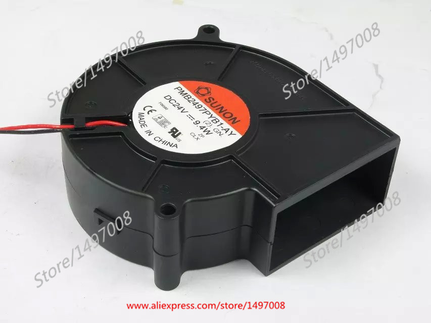 Free Shipping For SUNON PMB2497PYB1-AY, (2).GN DC 24V 9.4W 2-wire 2-pin connector 80mm 97x97x33mm Server Blower Cooling fan free shipping for sunon gb1207ptv2 a 13 b4396 f gn dc 12v 2 2w 3 wire 3 pin connector 70mm 70x70x25mm server square cooling fan