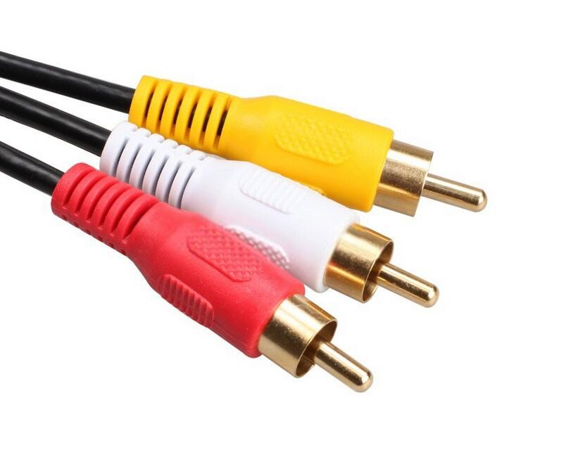 AIFFECT Gold Plated High quality 3 RCA to 3 RCA Male to Male Cable DVD Audio Video TV AV Cable 1 1M length