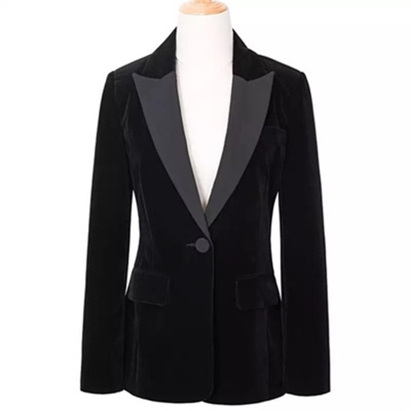 Doré velours Blazers femme veste petit costume femmes nouveau haute qualité mode grande taille loisirs costume femme Blazers femmes manteau