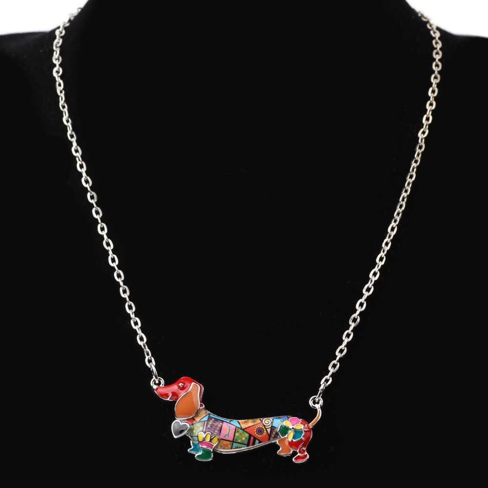 Bonsny Men Tuyên Bố Maxi Pet Dachshund Chó Vòng Cổ Vòng Cổ Hợp Kim Dây Chuyền Mặt Dây Chuyền Cổ Áo 2018 New Animal Đồ Trang Sức Cho Phụ Nữ Món Quà
