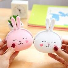 Snailhous Cute Bunny Coin Purse Key Bag Cartoon Silicone Portable Female Wallet Headset Storage Bag Organizer Storage Box стоимость