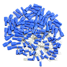 Connector-Terminal-Kit Cable JUN-22A Crimp-Wire Insulated-Spade Electrical 100x Blue
