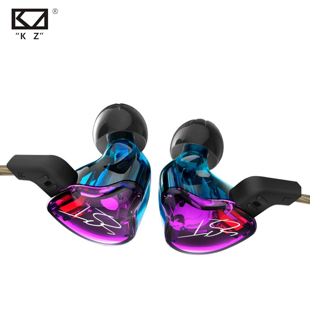 D'origine KZ ZST Armature Équilibrée + Dynamique Hybride Double Pilote Écouteurs Violet/blaHIFI Écouteurs Bass In-Ear Écouteurs Avec/out Mic