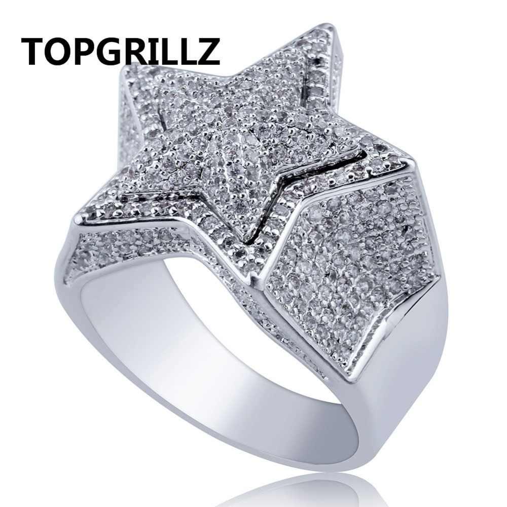 TOPGRILLZ Hip Hop ห้าแหวนผู้ชาย Silver สี Iced Out Cubic Zircon เครื่องประดับแหวนของขวัญ