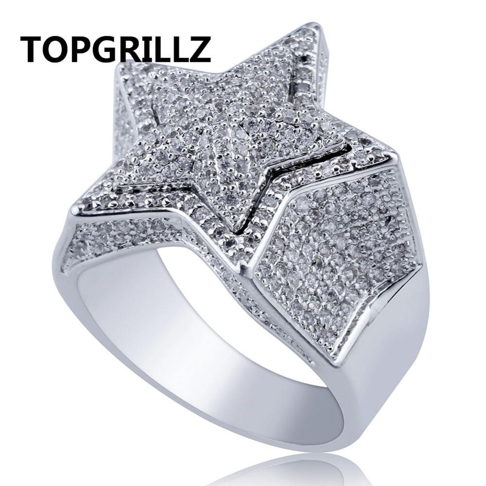 b31bf001c1f3 Cheap TOPGRILLZ Hip Hop de cinco estrellas anillos de oro de los hombres de Color  plata