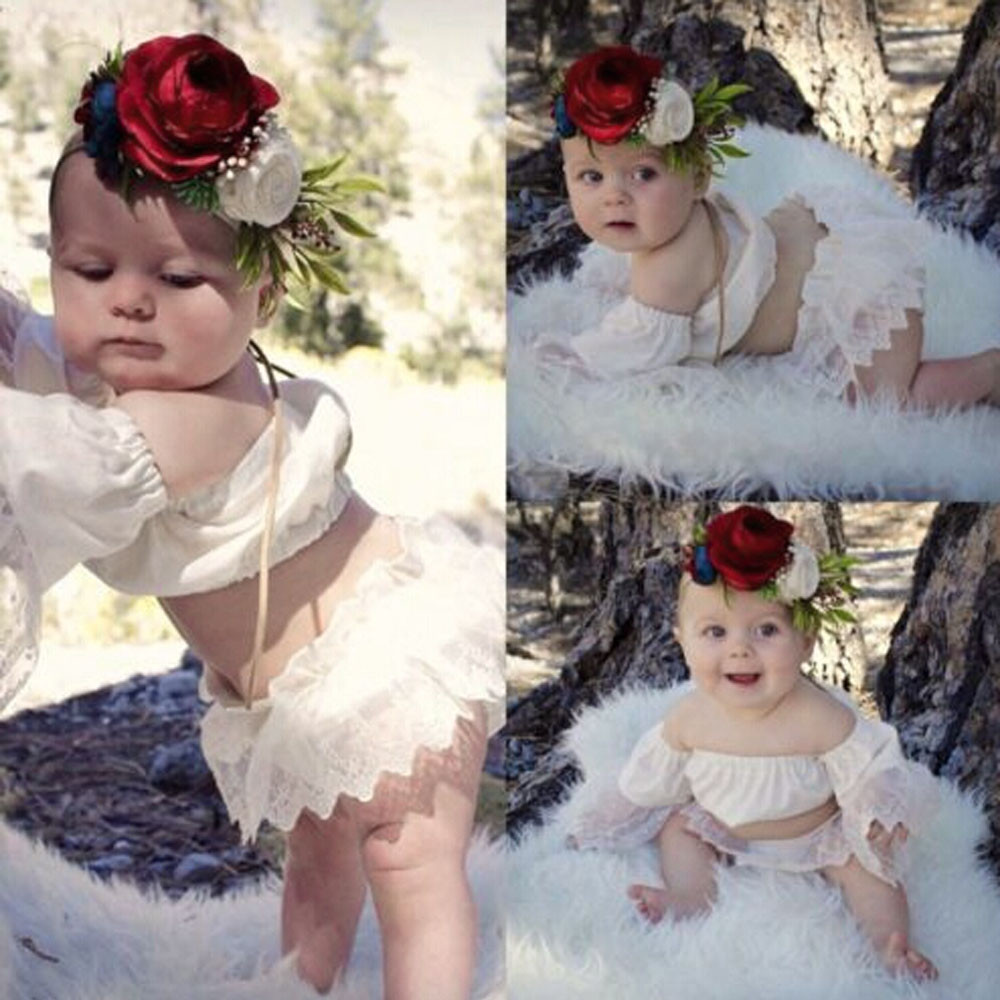 New Style Cute Baby Girls Off Shoulder Lace Tops Shorts Summer 2Pcs Party Outfits Set Clothes Baby Costumes For 0~2Years #20 ...