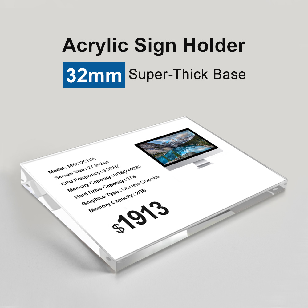 A4 table top sign holder Acrylic Mobile Cellphone Price Tag Holder A4 Beveled Square Sign Holder Phone Advertising Display Stand