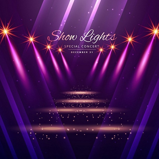 show purple lights gold sparkly stage laser photo backdrop