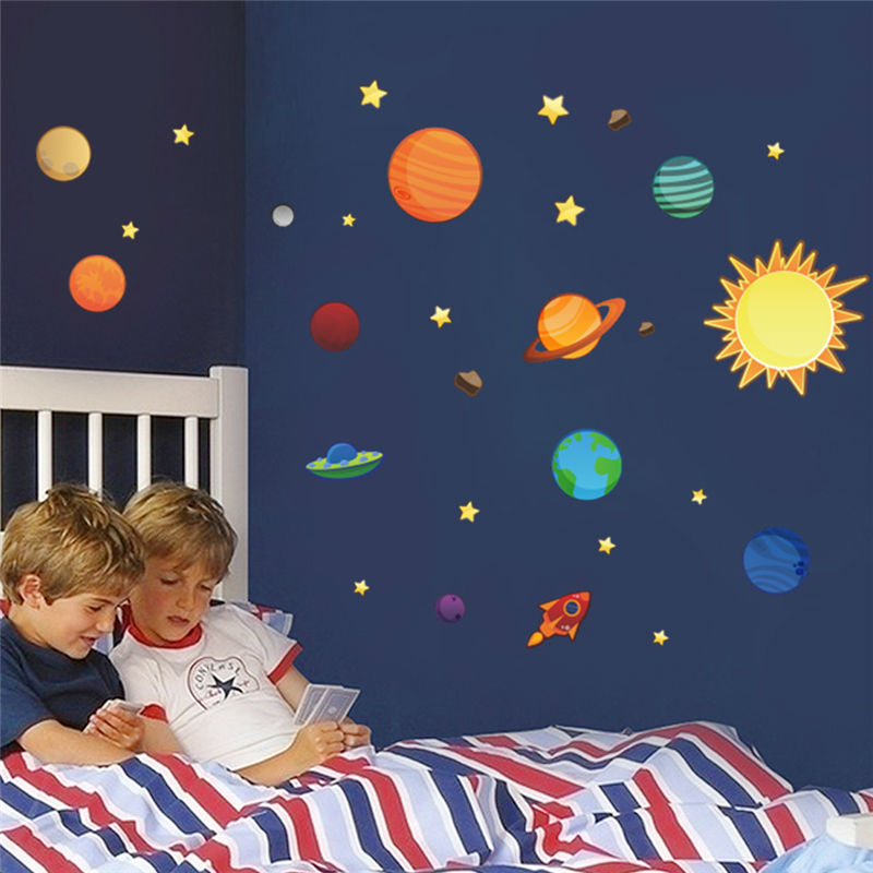 Solar system planets moon wall decals kids gift bedroom for Cartoon mural painting