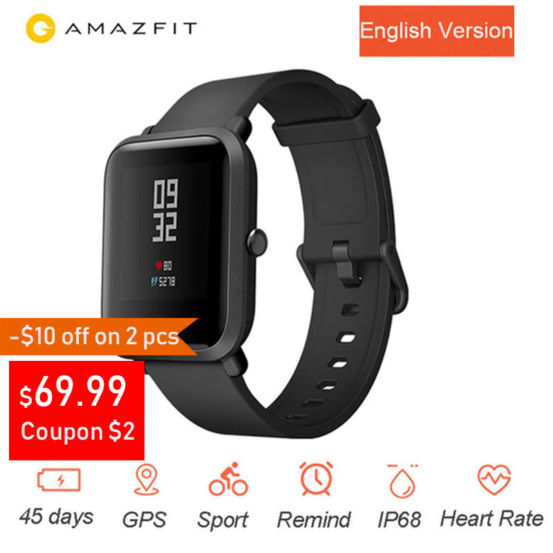 English Version Amazfit Bip Youth SmartWatch Huami GPS Smartwatch Android iOS Heart Rate Monitor 45 Days