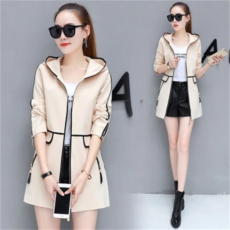 Fashion women's long coat Slim female spring and autumn spring new women's Korean version of the wild thin hooded leisure trend 25