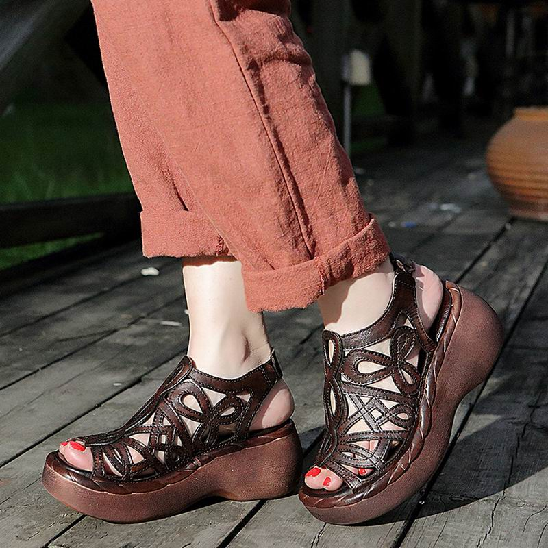 Women Shoes Platform Wedges Open-Toe Genuine-Leather Summer Cut-Out Handmade Cowhide