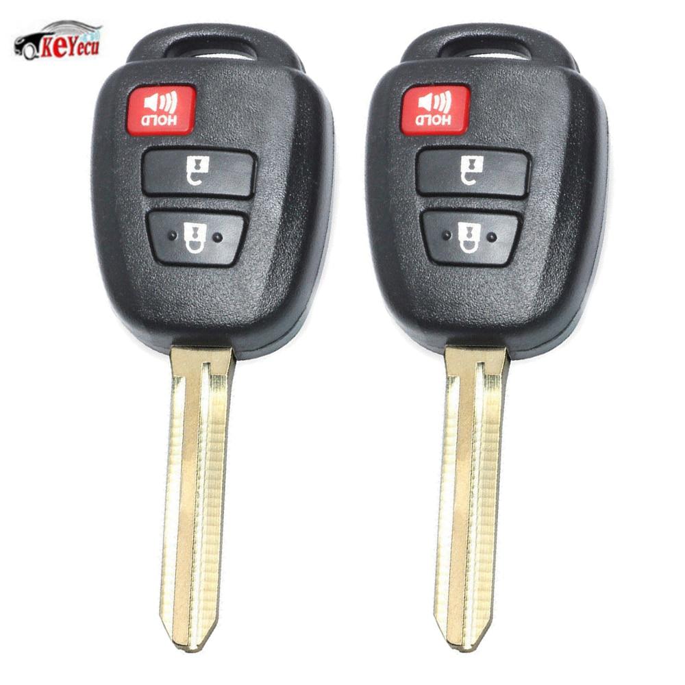 KEYECU 2 Pcs 3 Button Keyless Entry Uncut Ignition Remote Car Key Fob With G Chip for Toyota Prius C 2012 2013 FCC ID:HYQ12BDM