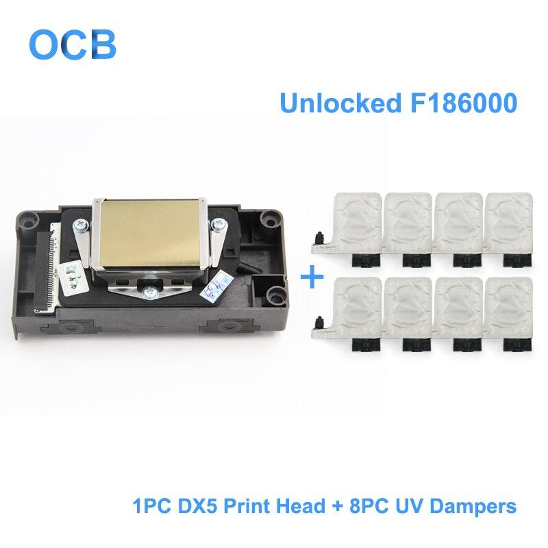 Новый F186000 разблокирована УФ печатающей головки DX5 растворителя печатающая головка для Epson R1800 R1900 R2000 r2400 4880 для Mimaki JV33 для Mutoh 1604