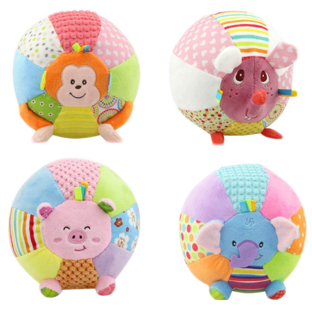Baby Sound Cloth Toy Animal Ball For Kids Activity Toys Cartoon Pink Pig Monkey Soft Early Educational Ball