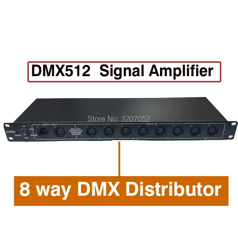 2018 New 8 way DMX Distributor Stage Light Controller DMX512 Splitter Light Signal Amplifier Splitter for stage light equipment dhl fedex free shipping best quality 8ch dmx splitter dmx512 light stage lights signal amplifier splitter 8 way dmx distributor
