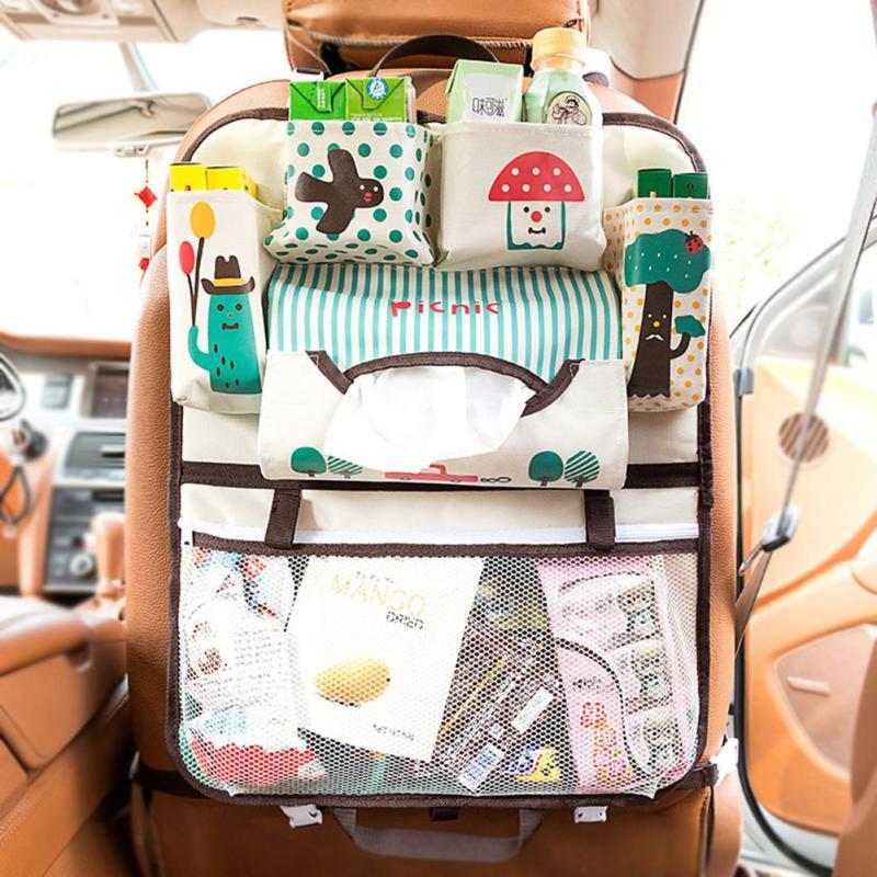 hanging bag oxford fabric back seat multi pocket baby kids car seat hanging bag auto