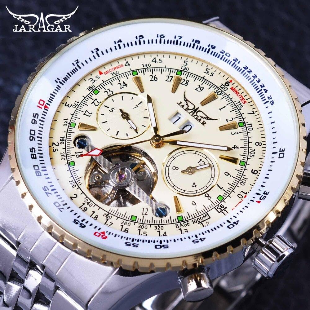 Jaragar Aviator Serie Militär Skala Gelb Elegante Zifferblatt Tourbillon Design Herren Uhren Top-marke Luxus Automatische Armbanduhr