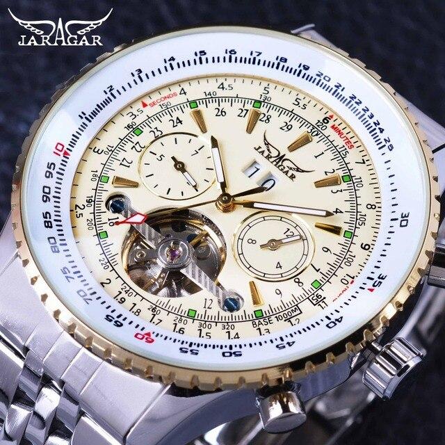 Jaragar Aviator Serie Militär Skala Gelb Elegante Zifferblatt Tourbillon Design Herren Uhren Top marke Luxus Automatische Armbanduhr