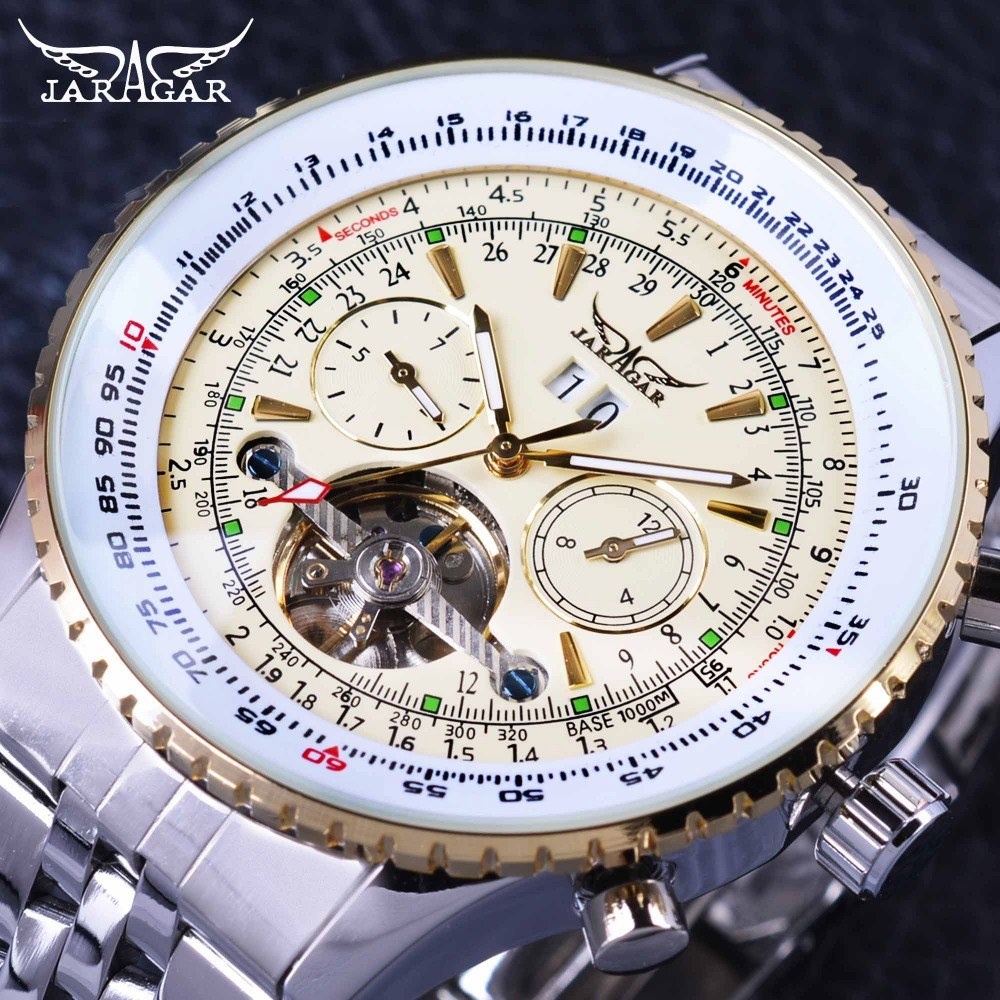 Jaragar Aviator Series Military Scale Yellow Elegant Dial Tourbillon Design Mens Watches Top Brand Luxury Automatic Wrist Watch