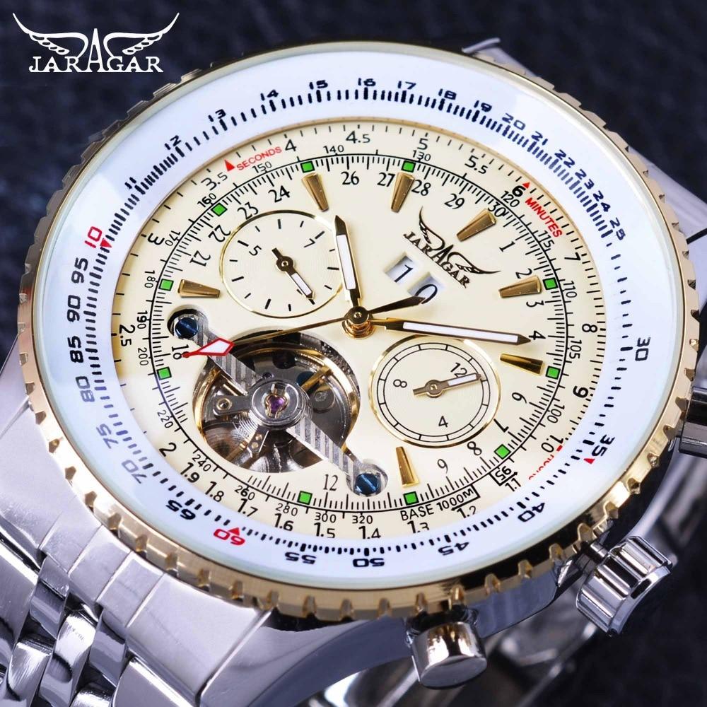 Jaragar Aviator Series Military Scale Yellow Elegant Dial Tourbillon Design Mens Watches Top Brand Luxury Automatic Wrist Watch