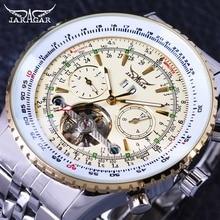ساعة يد رجالي من Jaragar Aviator سلسلة عسكرية باللون الأصفر الأنيق بتصميم توربيون ساعة يد أوتوماتيكية فاخرة من علامة تجارية