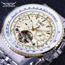 Jaragar アビエイターシリーズ軍事スケール黄色エレガントなダイヤルトゥールビヨンデザインメンズウォッチトップブランドの高級自動腕時計