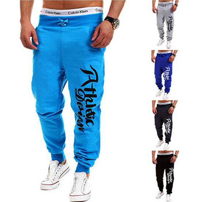 2016 Fashion Men Jogger Pants Casual Skinny Sweatpants Letter Print Pants Trousers Bodybuilding Harem Pants Men