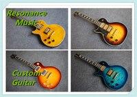 Nuovo di zecca yellow tiger flame top solido corpo mancino lp elettrica guitars china su ordinazione disponibile