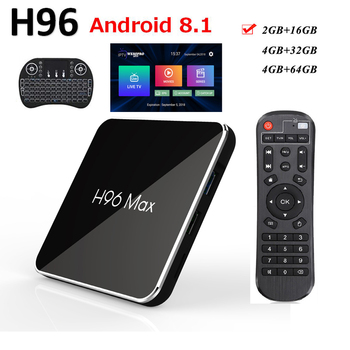 Android smart tv box h96 max x2 Android 8.1  4gb 64gb support i8 keyboard tv box h96 4K 3D 1080p USB3.0 youtube Android tv
