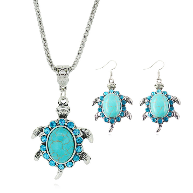 2017 Jewelry Tibetan Silver Color Tortoise Shaped with Rhinestone Pendant Necklace and Earring Sets for Women Party