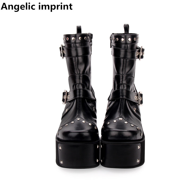 Angelic imprint mori girl Women motorcycle punk boots lady lolita Boots woman high heels pumps wedges