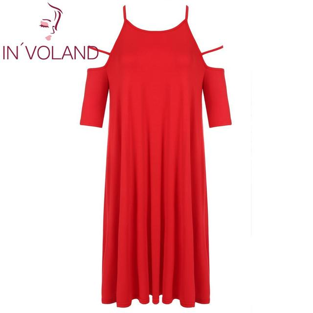 IN VOLAND Women Dress Summer Autumn Plus Size Cut Out Cold Shoulder Solid  Casual Loose Tunic Loose Ladies Dresses Oversized 5XL eb8d0881d1fc