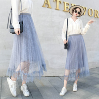 Sweet Poka Dot Summer Pleated Skirt Fairy Style Mid Long Skirts Womens Tulle Patchwork Hollow Out Saia 4xl Pastel OL Jupe Femme