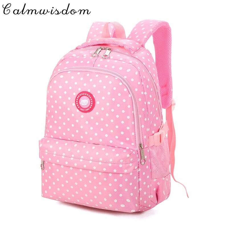 Calmwisdom комфорт в горошек для девочек школьный детская школьная сумка Mochila escolar randoseru рюкзак