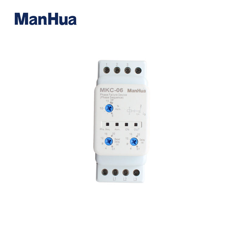 Manhua New Model AC380V 5A 3 Phase Sequence Voltage Unbalance MKC-06 the protection from the Phase Failure Relay