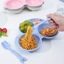 Baby Solid Feeding Dishes Children Sub Grid Plate Bowl Creative Plate Kids Wheat Straw Tableware Set(China)