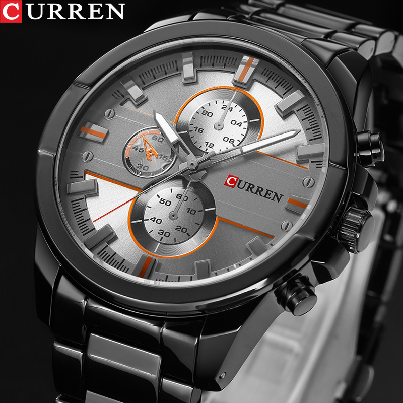 <font><b>Curren</b></font> Luxury Brand Watches Men Quartz Clock Fashion Casual Male Sports Watch Full Steel Military Watches Relogio Masculino 2019 image