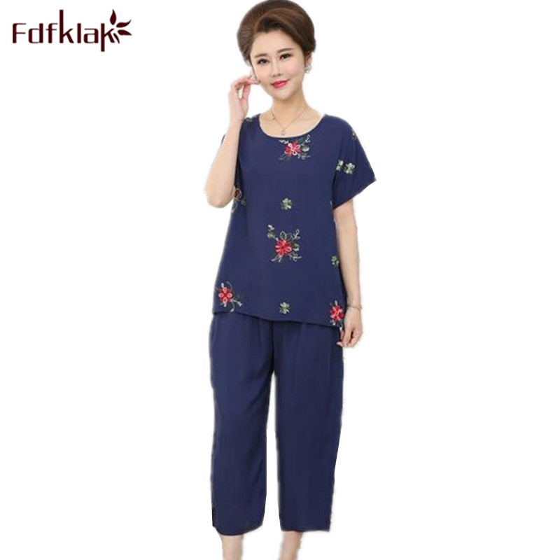 Fdfklak Summer Pijamas Cotton Linen Woman Night Sleepwear Sets Home Clother Pyjama Femme Pajamas Plus Size L XL XXL 3XL Q930