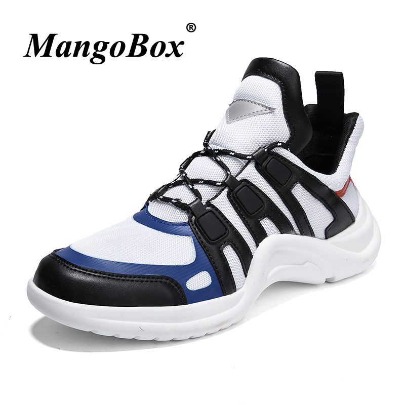 Jogging Shoes Men Spring Autumn Brand Sport Shoes Men Mid-top Sneakers Male Black Outdoor Footwear Lace Up PU Man Sneakers