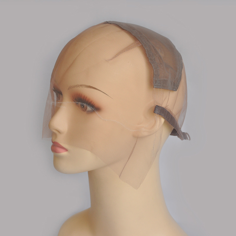 Brown Full Net Wig Cap For Making Full Lace Wig With Adjustable Straps With Spun Fish