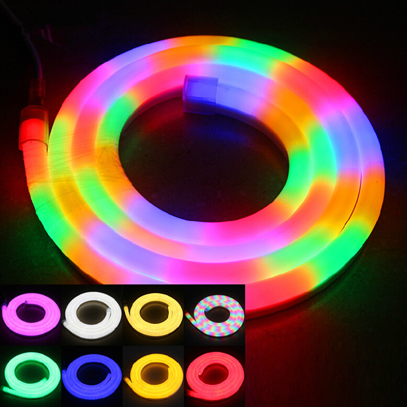 led neon flex light 3 wired four color led neon flexible strip size 14 26mm dip f5 80leds m r y. Black Bedroom Furniture Sets. Home Design Ideas