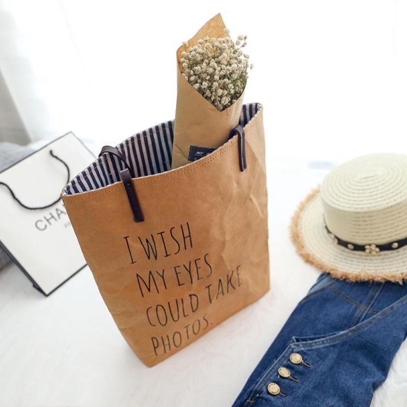 Retro Women Kraft Paper Handbag Solid Brown Letter Printing Large Capacity Shoulder Bags for Girls Casual Ladies Shopping Bag Y2 домкрат kraft кт 800026