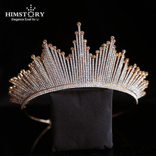 HIMSTORY Luxury Trendy Rhinestone คริสตัล Tiara Big Crown งานแต่งงาน(China)