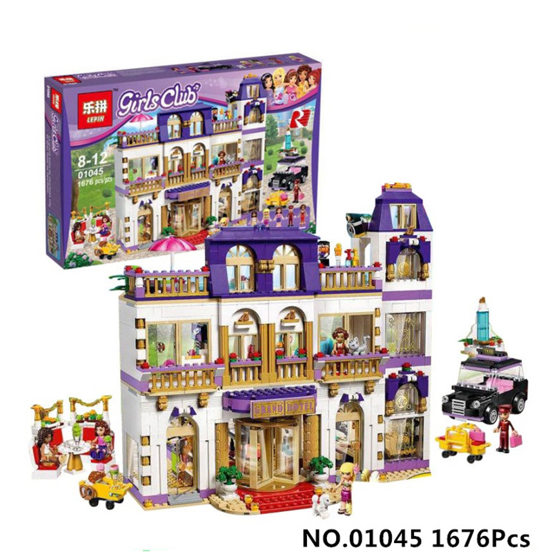 1676Pcs Lepin 01045 Girls Series The Heartlake Grand Hotel Model set Building Blocks Bricks Eucational toys for girls Gift 41101 black pearl building blocks kaizi ky87010 pirates of the caribbean ship self locking bricks assembling toys 1184pcs set gift