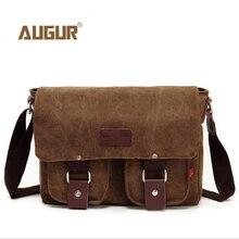Geniue Leather + canvas bag high quality messenger bags fashion shoulder brand men 32*10*27cm