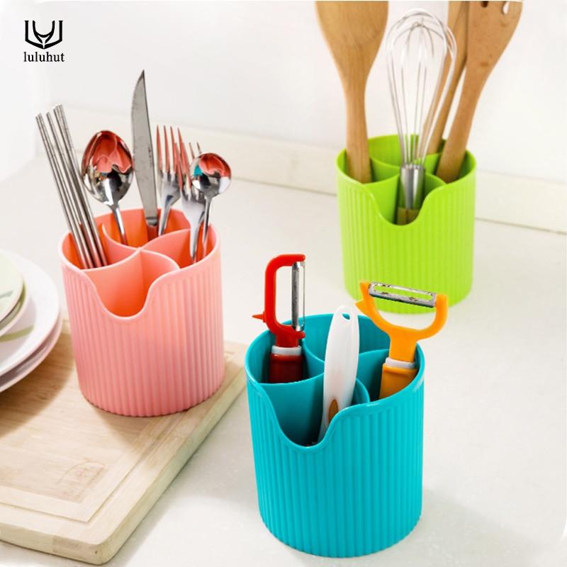 luluhut candy color Kitchen storage box tableware knife fork spoon storage bins drain cutlery kitchen tools holder